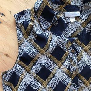 Dress Barn L blue & gold sleeveless button up top